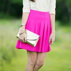 JCrew Hot Pink Pleated Skirt